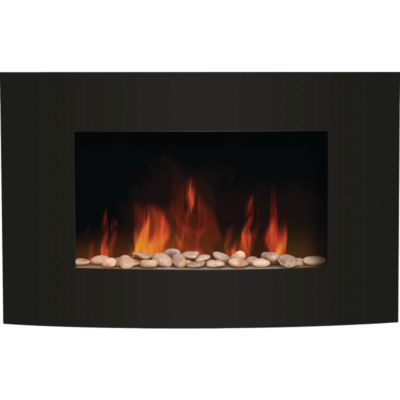 Amantii Wm 3522cf Convex Front Wall Mount Led Fire Effect Electric Fireplace W Wide Black Glass Frame Fireplace Electric Fireplace Black Glass