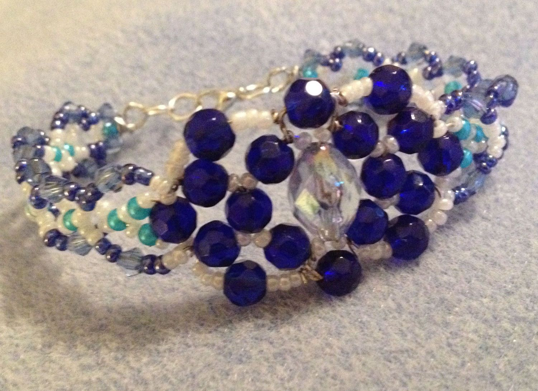 Blue Crystal  Bracelet. Handmade Crystal Bracelet. Ideal gift for Mothers Day by MariposaByDesign on Etsy