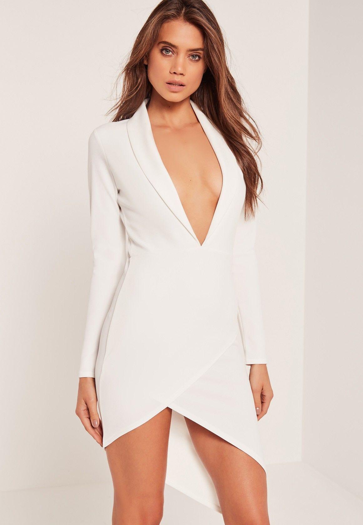 4bd390f392 Missguided - Asymmetric Wrap Hem Plunge Bodycon Dress White