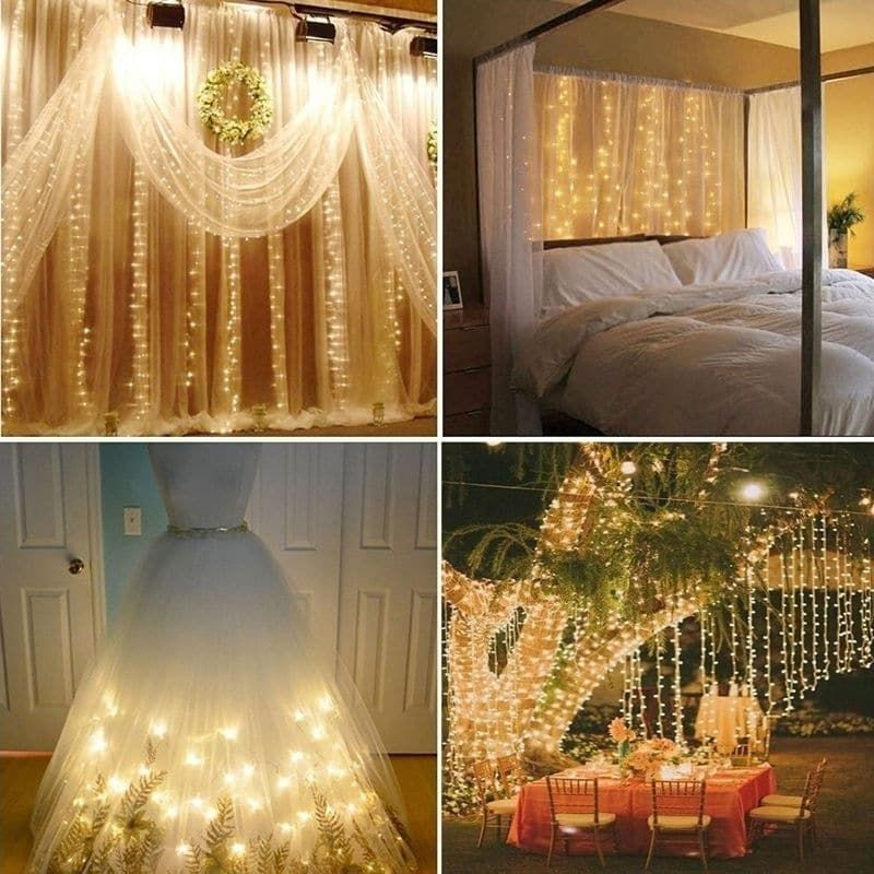 Amazing Coutlet 3*3M Curtain String Lights 304 LED Wall Lights Christmas String  Light, Warm