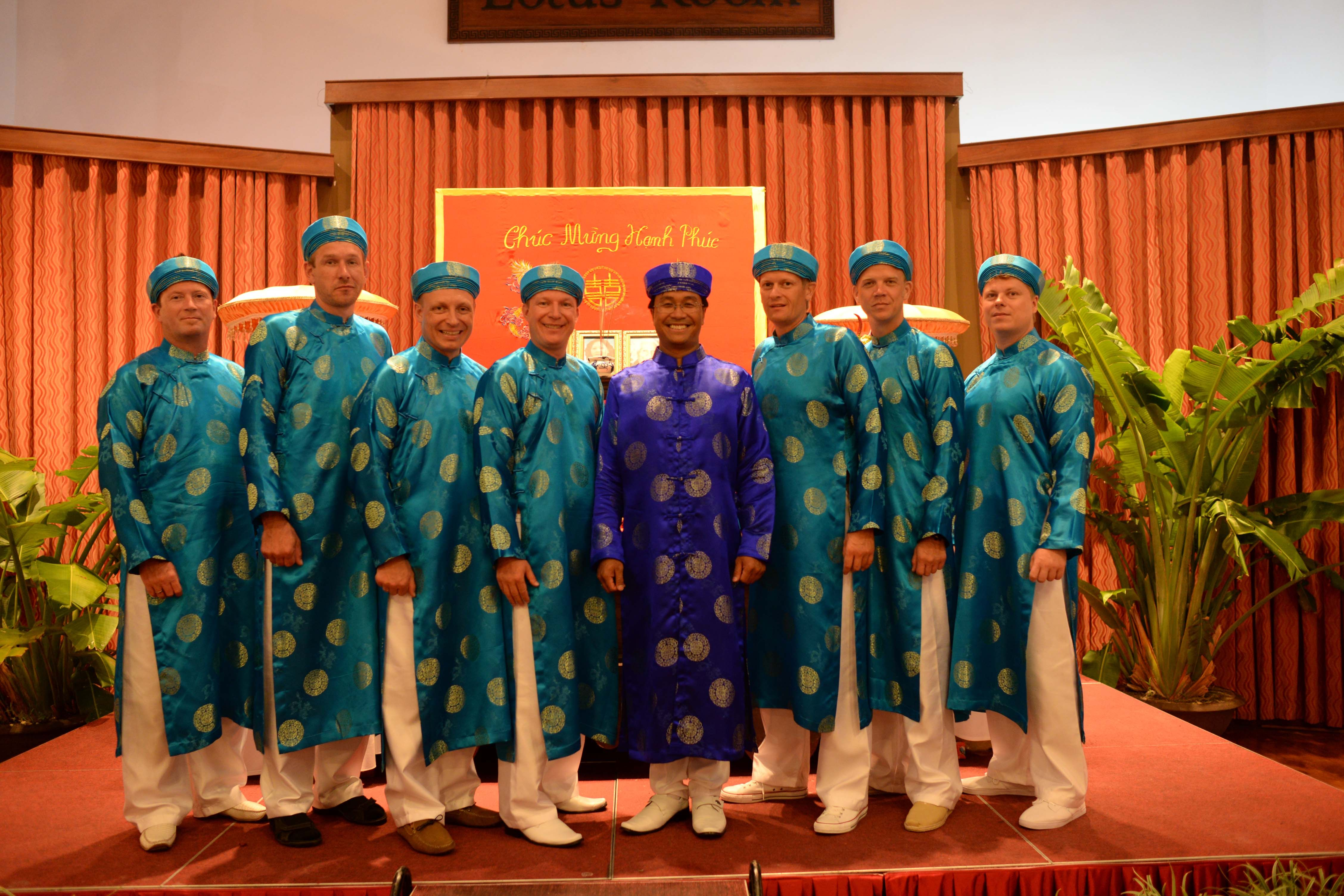 The men's party at a Vietnamese tea ceremony.