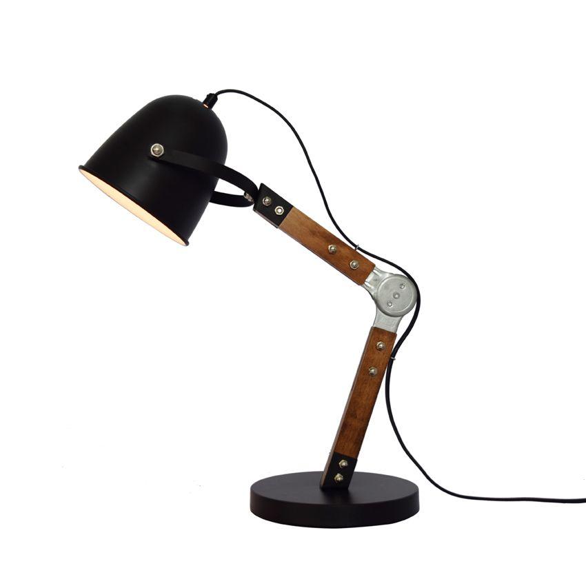 laurie lumi re boh me chic lampe de bureau industrielle noire m tal bois articul e lampes. Black Bedroom Furniture Sets. Home Design Ideas