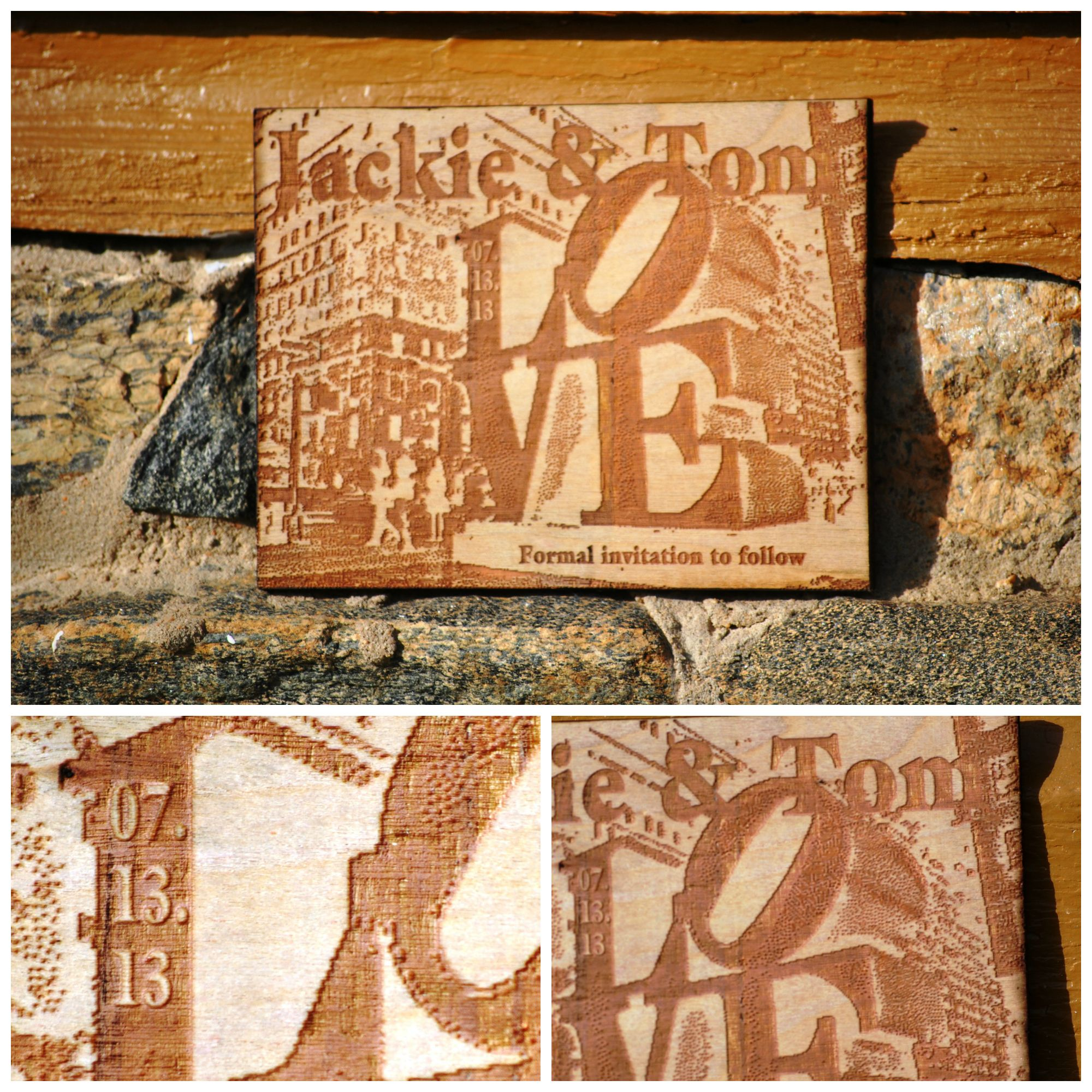 Custom wooden save the date by papyri with images