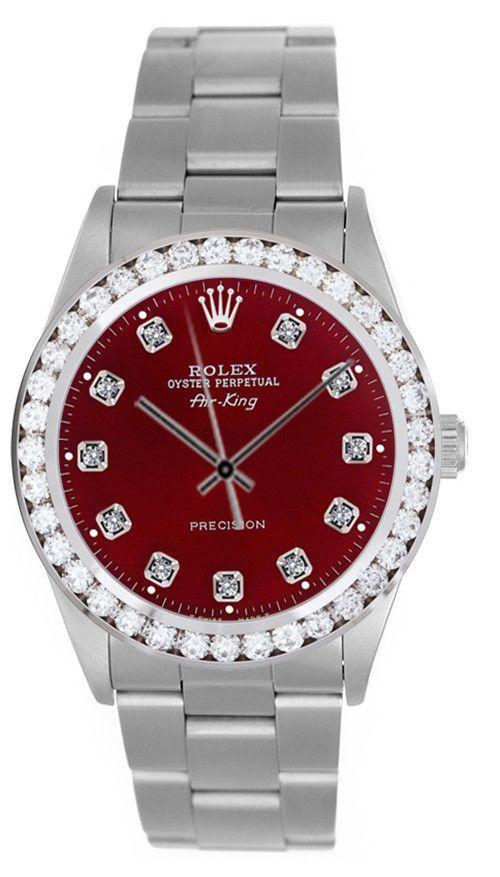 7ddc3e804a Rolex Airking Red Diamond Face / 2.00ct Diamond Bezel | men watches ...