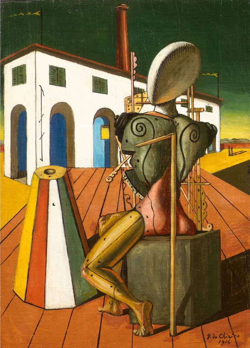 """Giorgio de Chirico ;""""Il Trovatore del 1946 : Replica del dipinto originale del 1916 ."""