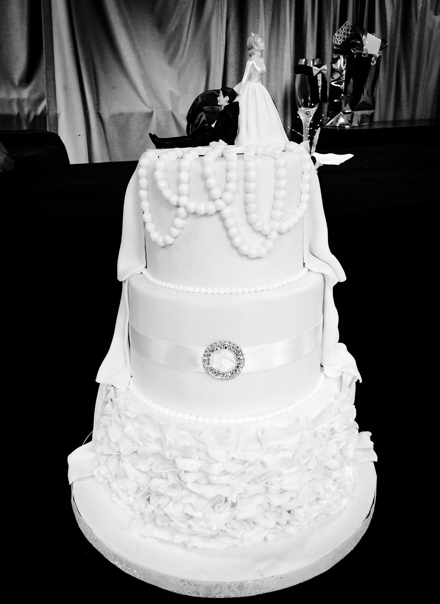 White fondant wedding cake..ruffles & pearls..by Elisa Garcia ...
