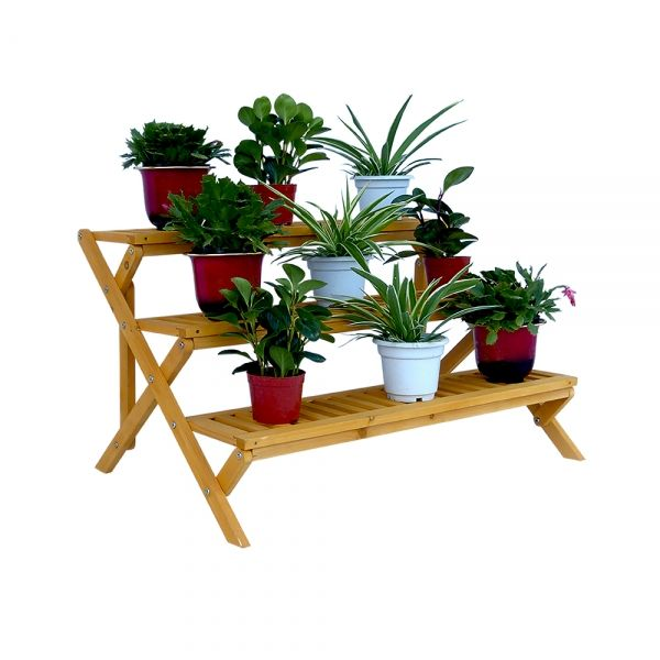 Lawn U0026 Garden : PS6133   3 Tier Wooden Step Plant Stand Decorative And  Functional