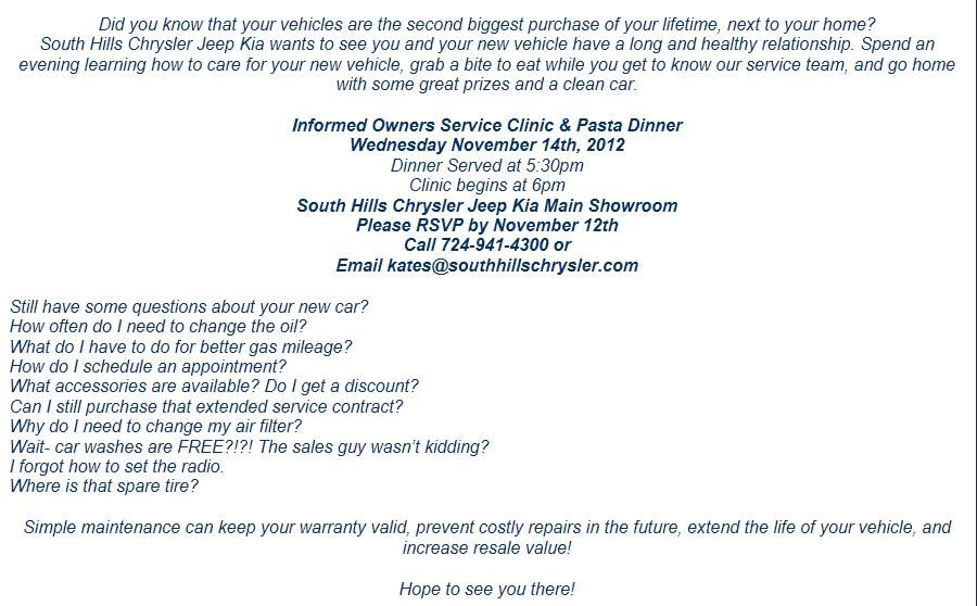 Join South Hills Chrysler Jeep Kia and the Oil \ Gas Workers of - simple service contract