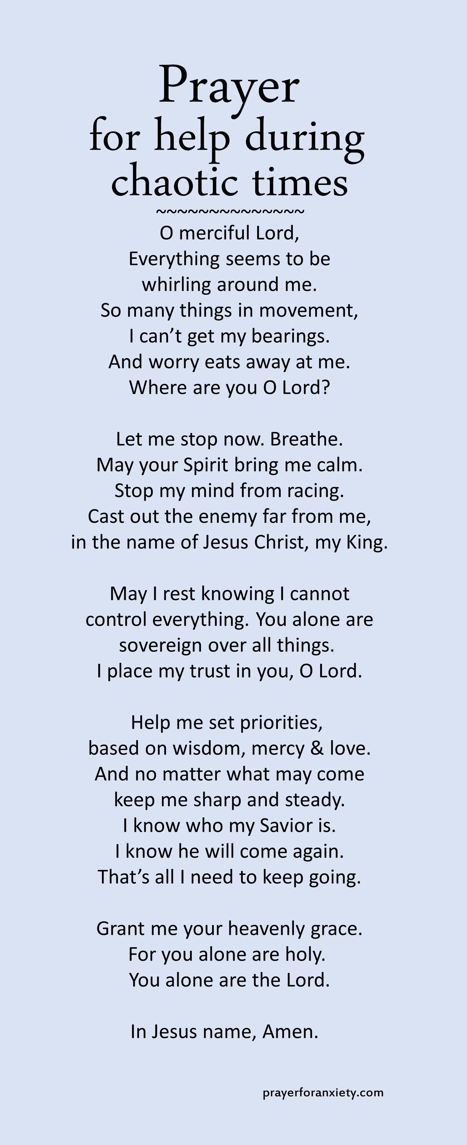 Prayer For Help During Chaotic Times Prayer For Help