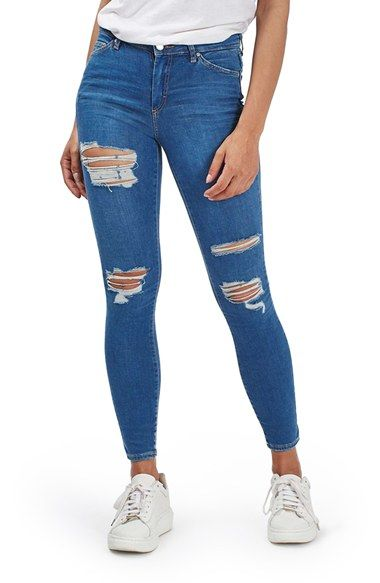 db6d34547aaa Free shipping and returns on Topshop Moto Leigh Super Ripped Ankle Skinny  Jeans at Nordstrom.com. Mid-rise