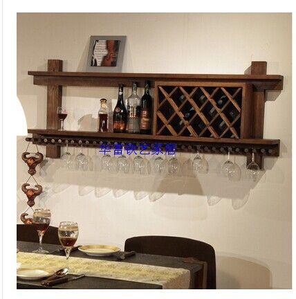 European American Wood Wine Cabinets Showcase Rack Hanging Cup Wall Racks Modern Ash