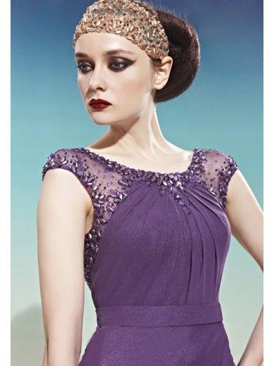 Purple Cap Sleeve Scoop Neck Beaded Prom Evening Long Dress ...
