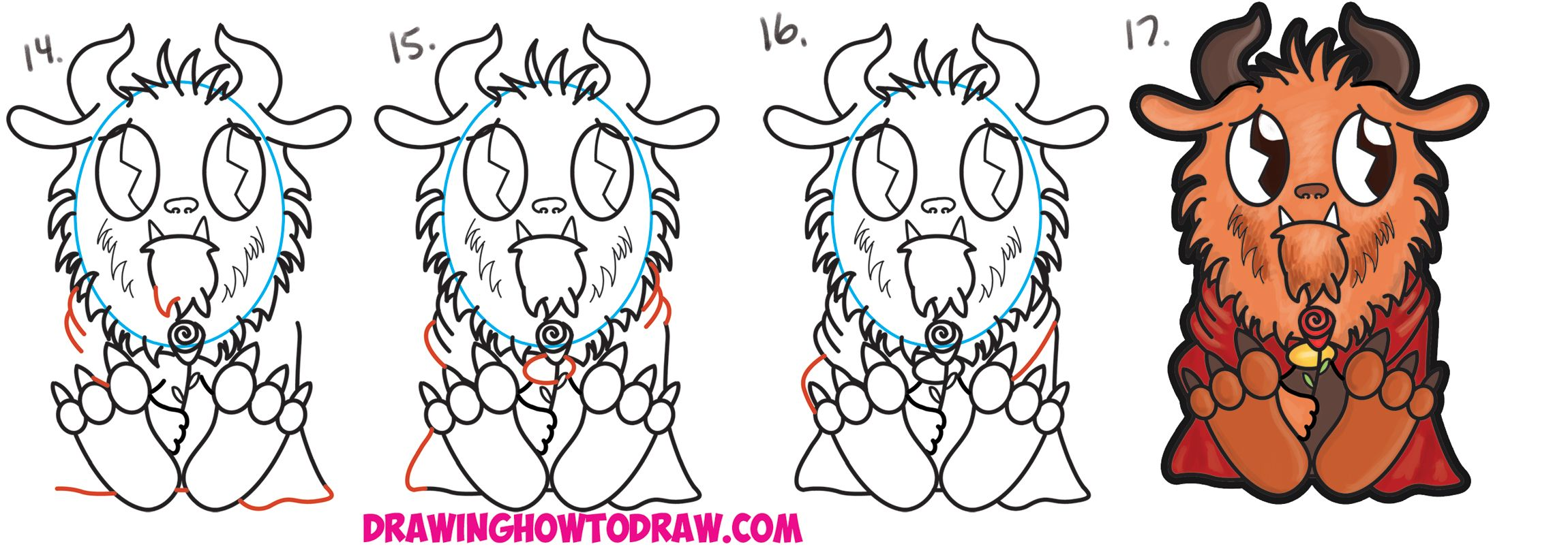 How To Draw Cute Kawaii Chibi Beast From Beauty And The
