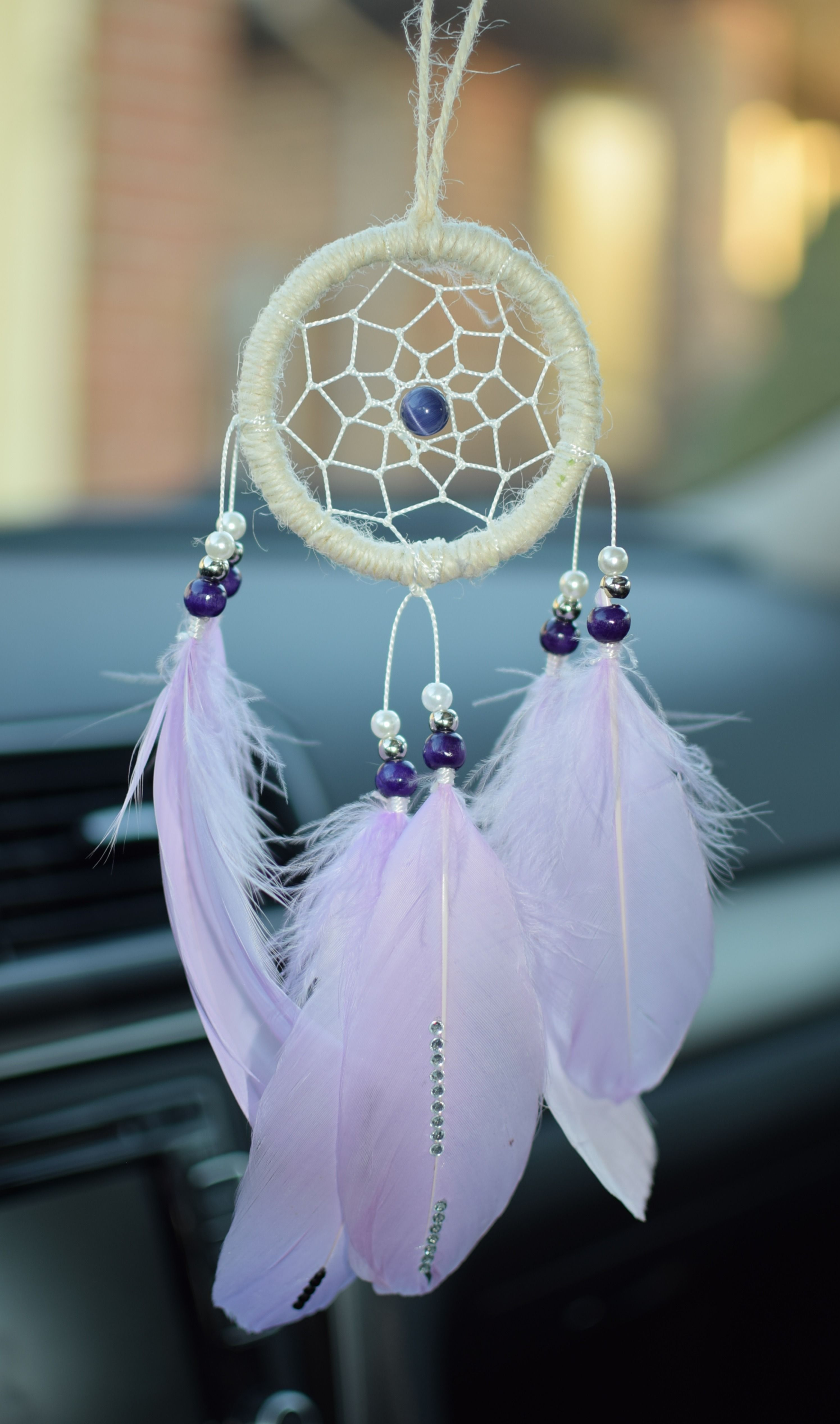24 IN LARGE RAINBOW BLUE DREAMCATCHER new dreams decor feathers beads webbed