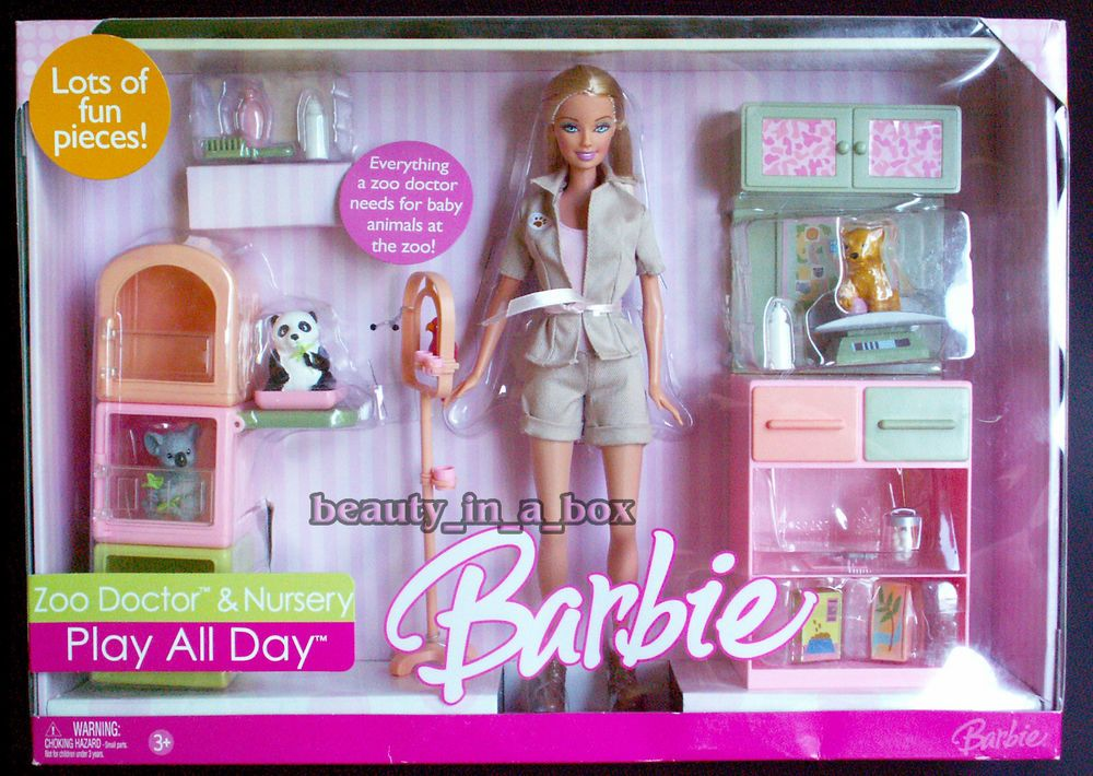 Zoo Doctor Nursery Barbie Doll Play All Day Gift Set Playset Nrfb Box Has Wears Ebay