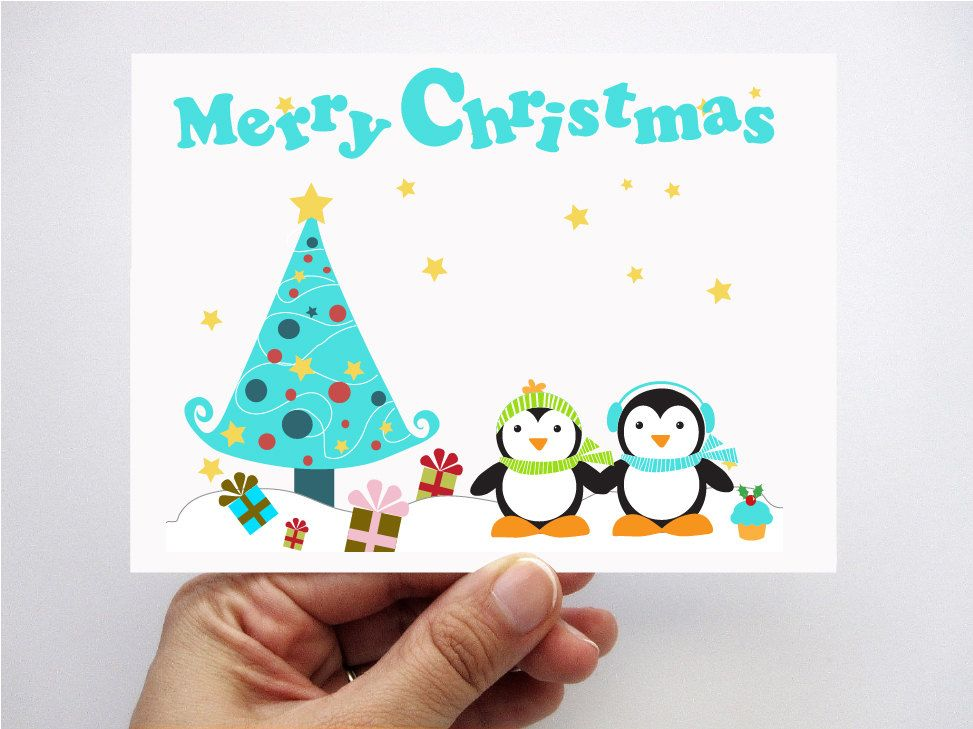 Penguin Christmas cards, printed cards, Kids cards, Merry Christmas ...
