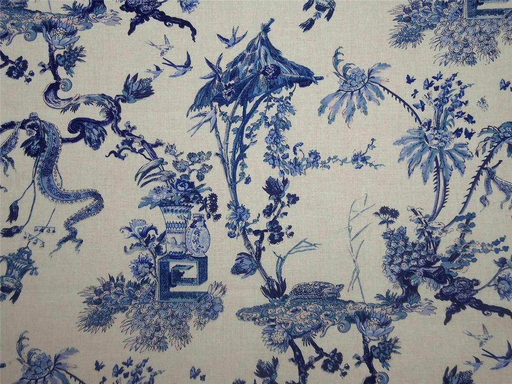 Designer Curtain Fabric Canton Linen Cotton Delft Blue Floral By