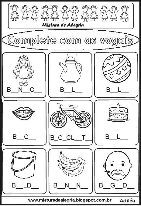 Complete As Vogais Alfabetizacao Imprimir Colorir B Jpg 464 679
