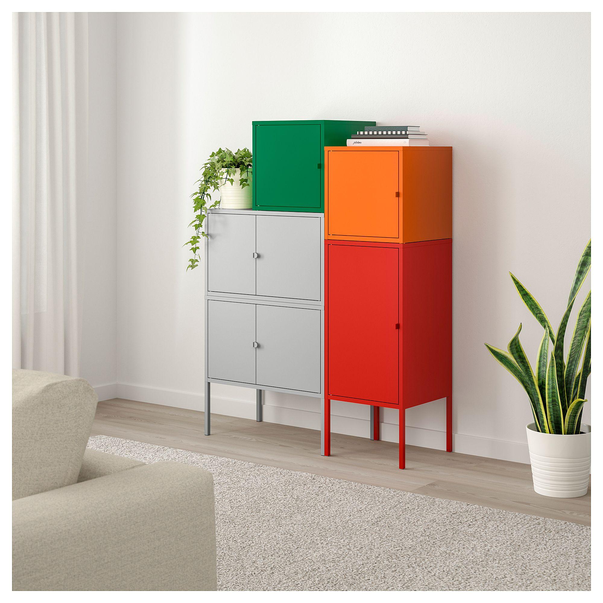 IKEA LIXHULT Storage combination gray dark green, red