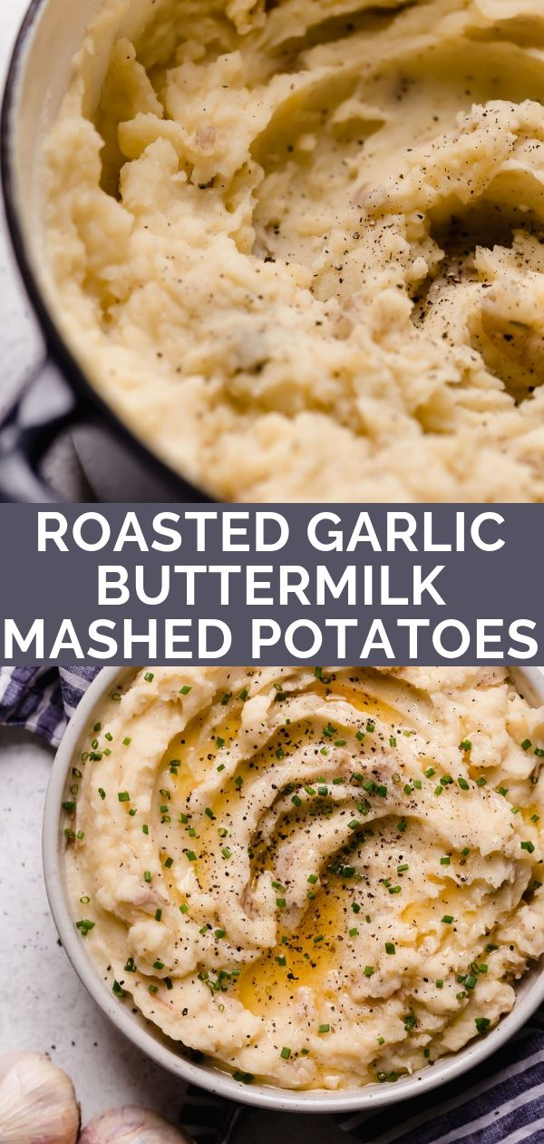 Roasted Garlic Buttermilk Mashed Potatoes Recipe Buttermilk Mashed Potatoes Roasted Garlic Food