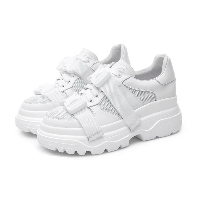 7480acd4f70b Genuine Leather + Mesh Women s Platform Dad Sneakers 2018 Fashion Buckle  Women Flat Walking Shoes Woman Casual Footwear  swimsuits  promdresses   womens ...