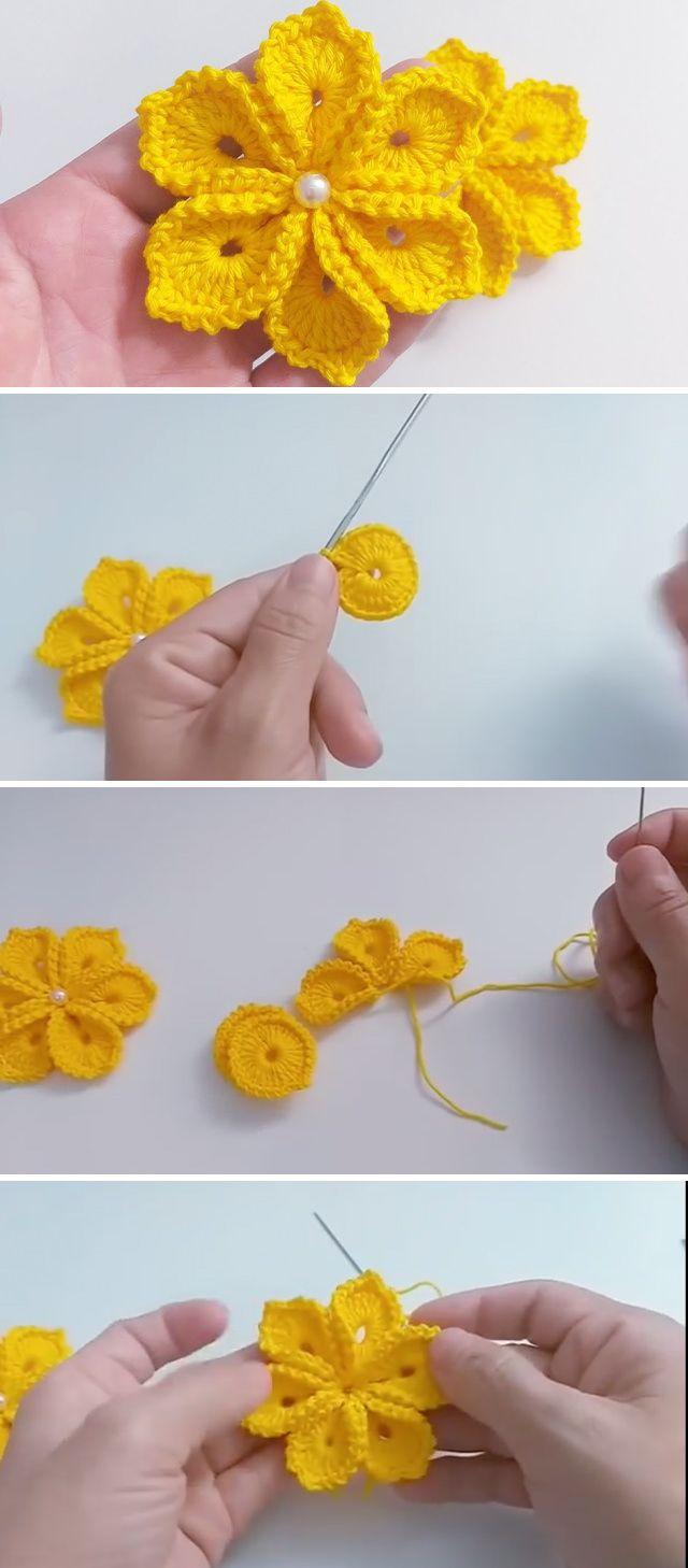 Photo of Simple Crochet Flower With 6 Petals | CrochetBeja