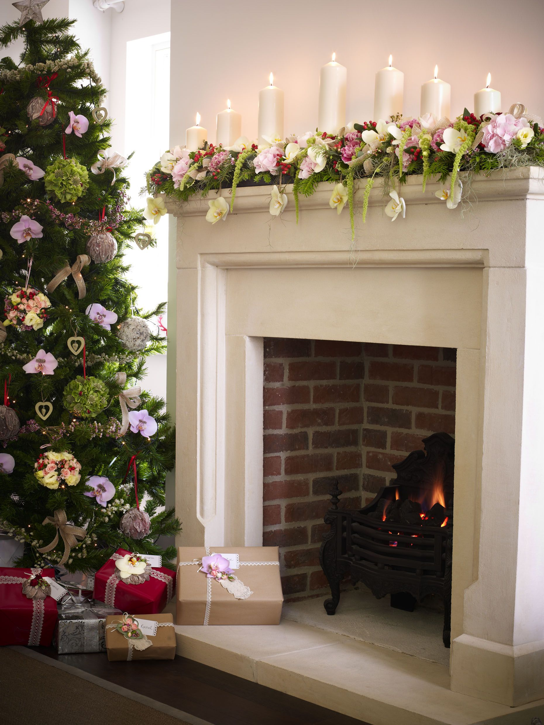 Christmas Fireplace Decorated With Stunning Candle Arrangement Adorned Fresh Flowers