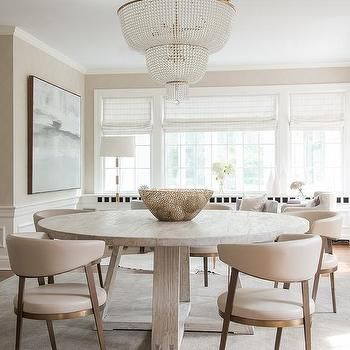 Round Gray Oak Dining Table With Cream Leather Dining Chairs Neutral Dining Room Coastal Dining Room Cream Leather Dining Chairs