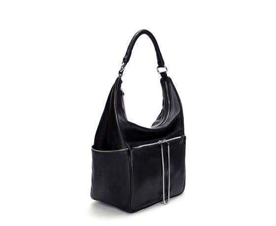 ZARA - WOMAN - LEATHER BUCKET BAG WITH ZIPS