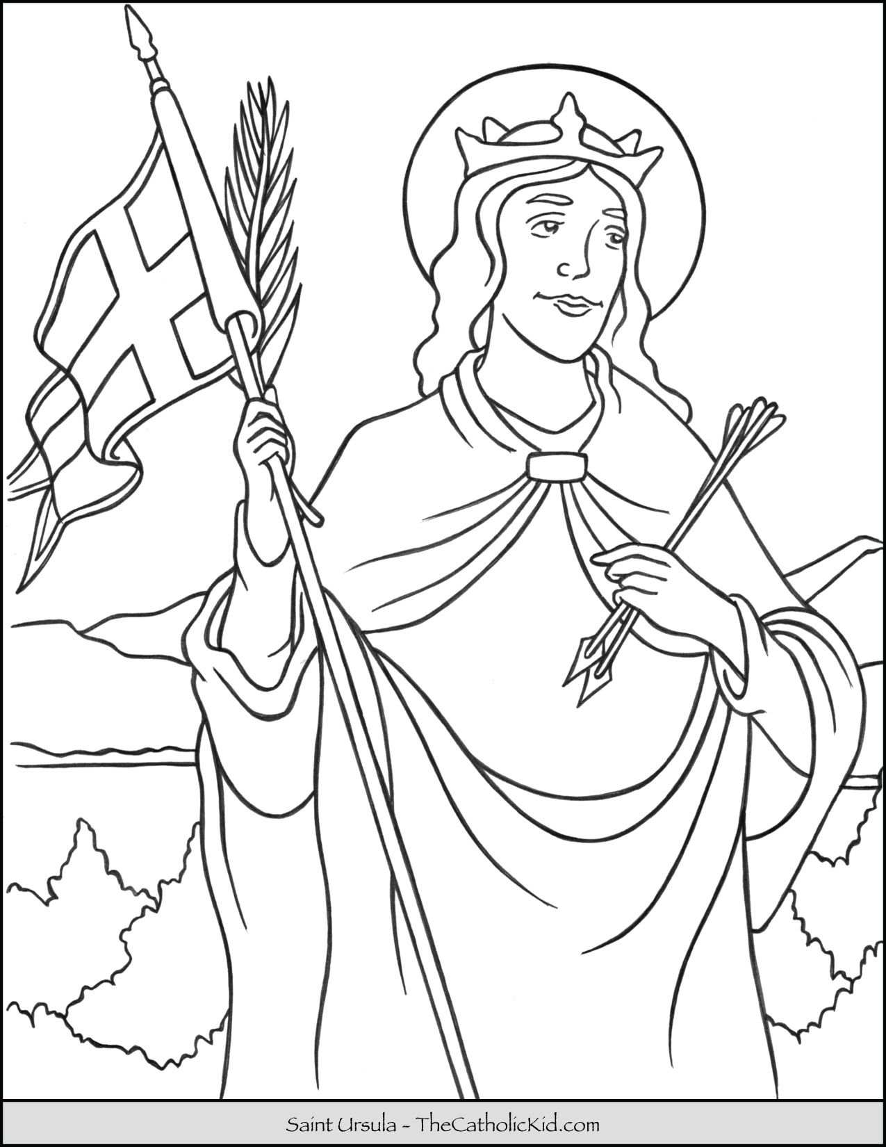 Saint Ursula Coloring Page Thecatholickid Com With Images