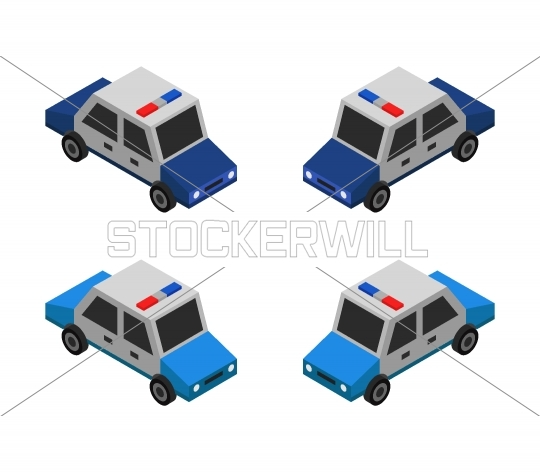 Stockerwill Com Isometric Police Car Icon Illustrated In Vector On A White Background Stock Images Free Car Icons White Background