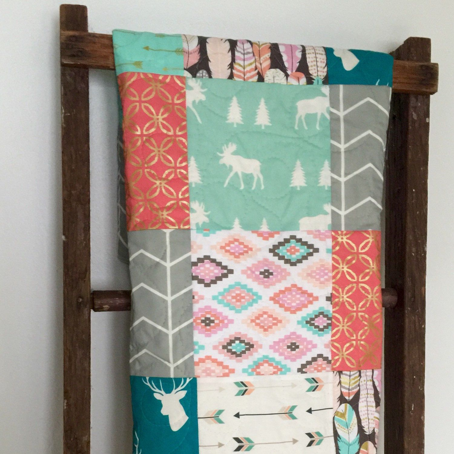 Another new quilt!  Great colors and even a moose for the girls... : )  Happy Thanksgiving everyone!  Hope you have a wonderful day with family and friends.