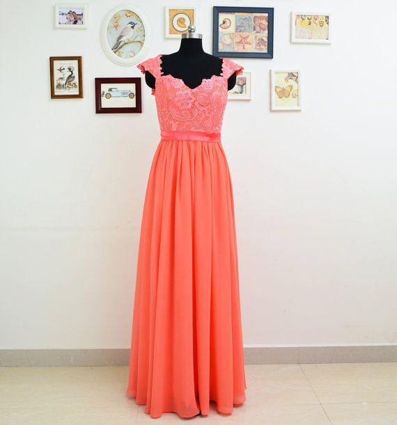 Long lace bridesmaid dresses coral