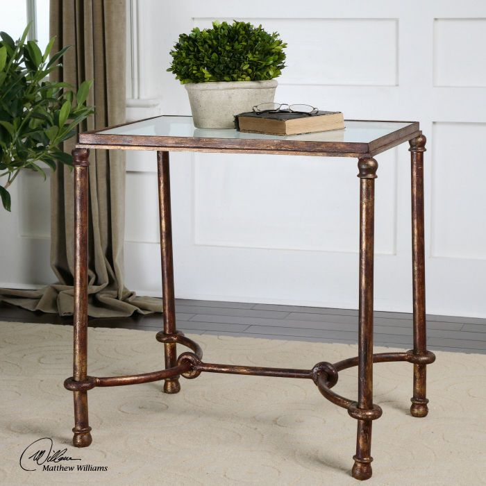 Rustic Bronze Patina Iron & Glass End Table Unique Elegant Metal