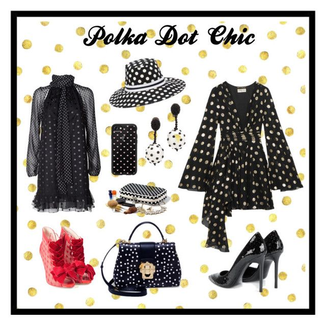 """""""Polka Dots"""" by cheryl-muscoe ❤ liked on Polyvore featuring Yves Saint Laurent, Giamba, Sophia Webster, Casetify, Dolce&Gabbana, Oscar de la Renta, PolkaDots, Sexy and summerstyle"""