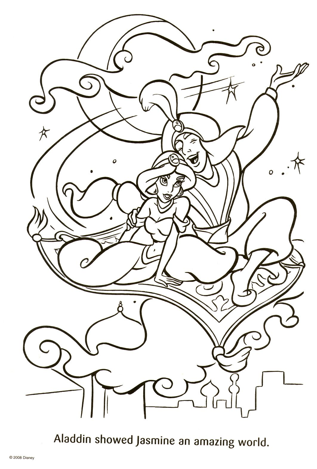 Disney Coloring Pages Aladdin And Jasmine Riding A Flying Carpet