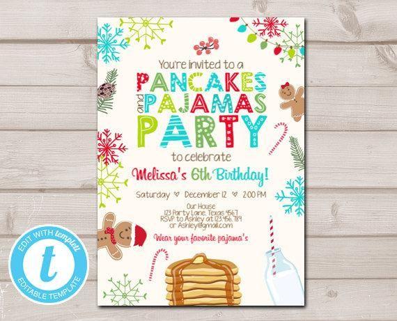 Christmas Pancakes and Pajamas Party Birthday Invitation Pancake