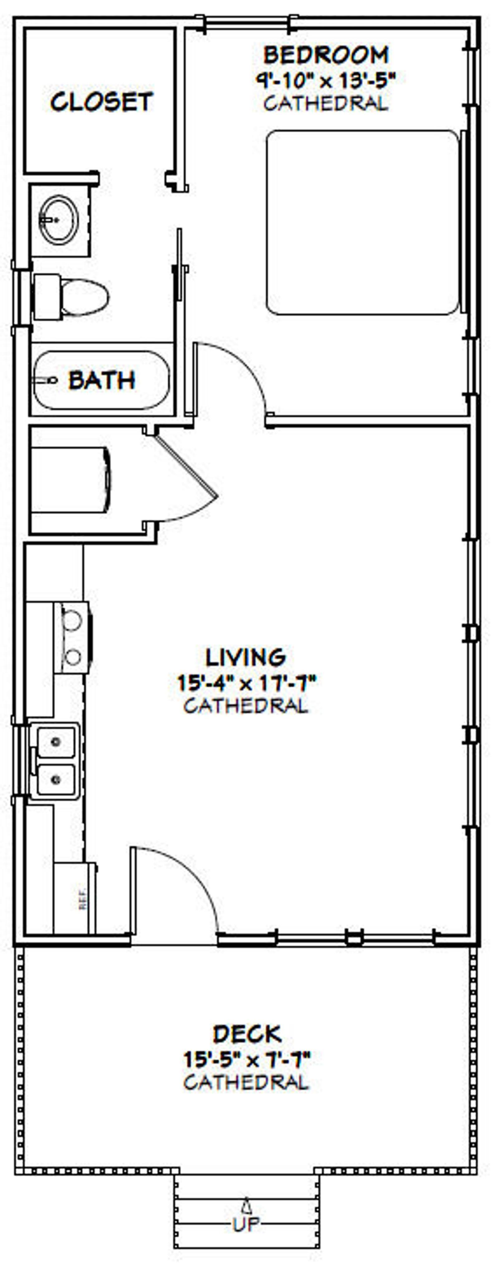 16x32 House 1 Bedroom 1 Bath 511 sq ft PDF Floor Plan Instant Download Model 3D