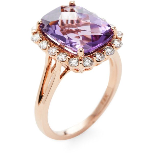 Danni Women's Amethyst & Diamond Cocktail Ring - Purple - Size 7 ($2,125) ❤ liked on Polyvore featuring jewelry, rings, purple, cocktail ring, round cut rings, wide rings, purple cocktail ring and statement rings