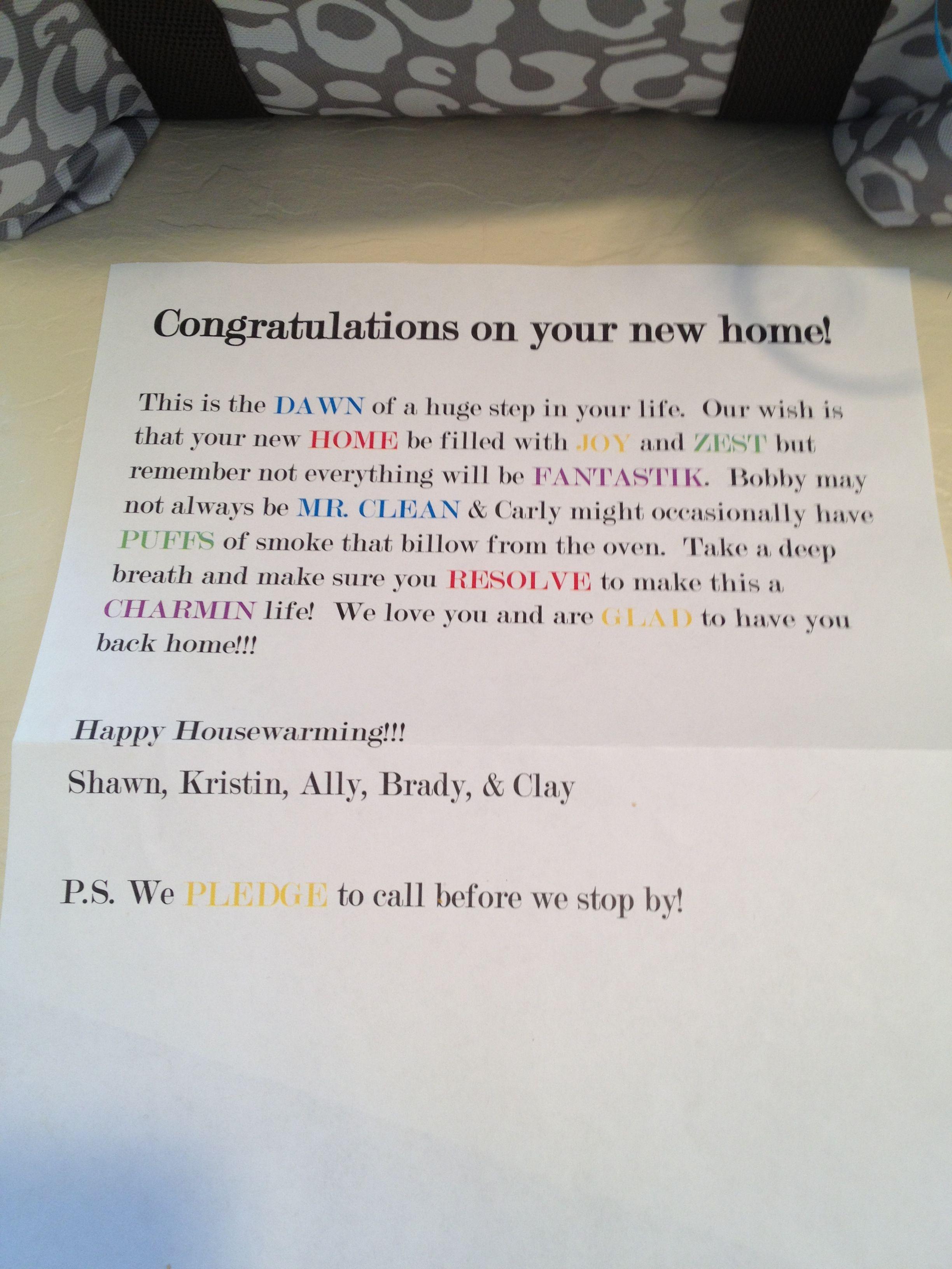 Housewarming gift letter | Gift Ideas | Pinterest | Housewarming ...