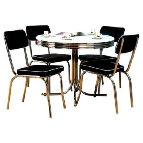 Retro Dining Set Kitchen Table and Chairs 5 PC Dinette Nostalgia Black Chrome #Contemporary