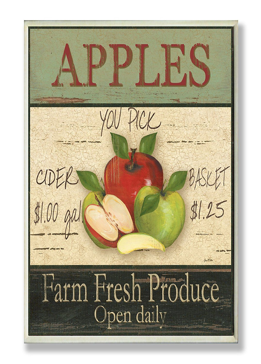 The Stupell Home Decor Collection Apples Farm Fresh Produce Kitchen ...