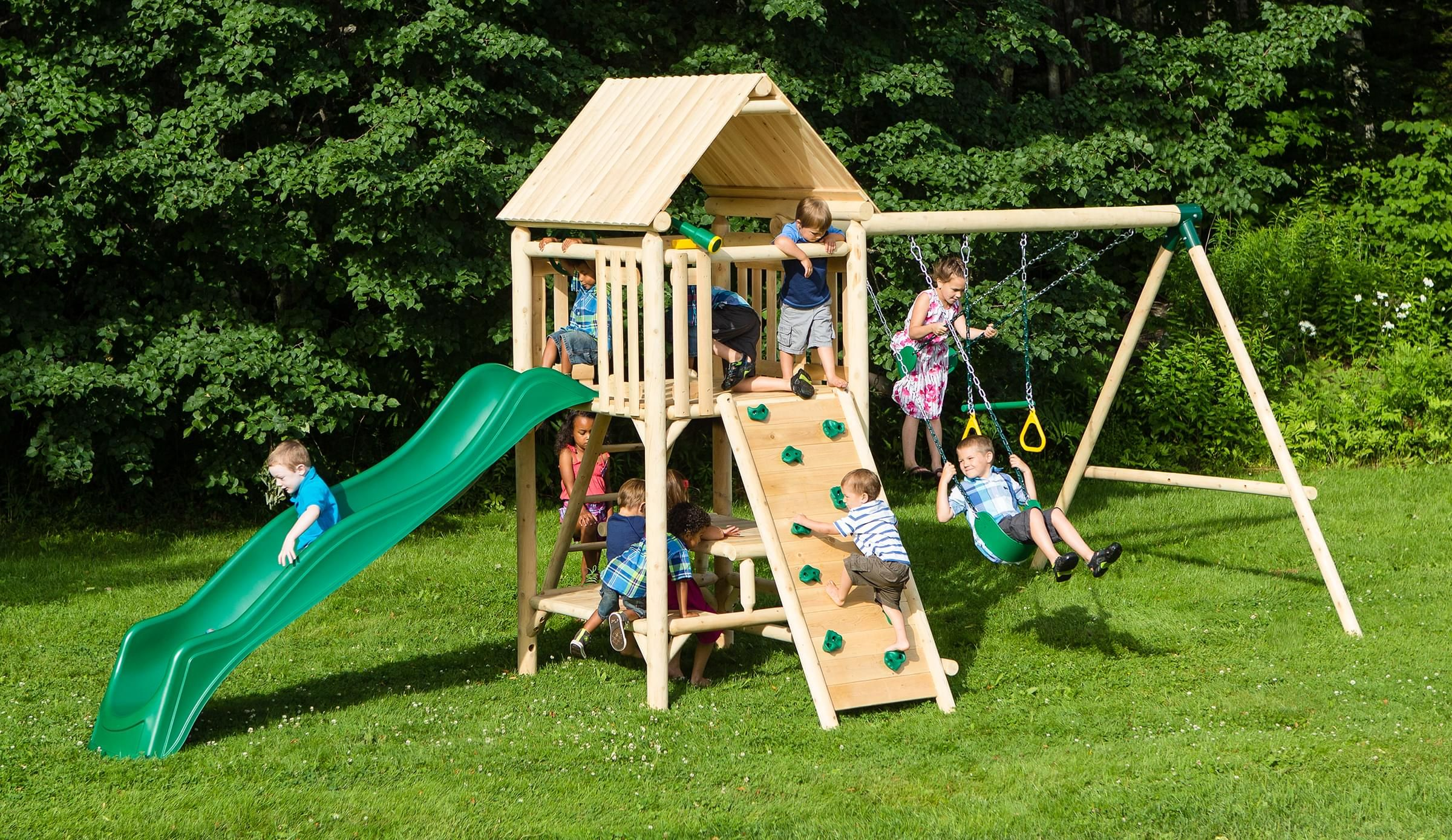 Play A Round Lookout Wood Swing Set And Outdoor Playset Cedarworks Playsets Playset Outdoor Swing Set Wooden Swing Set