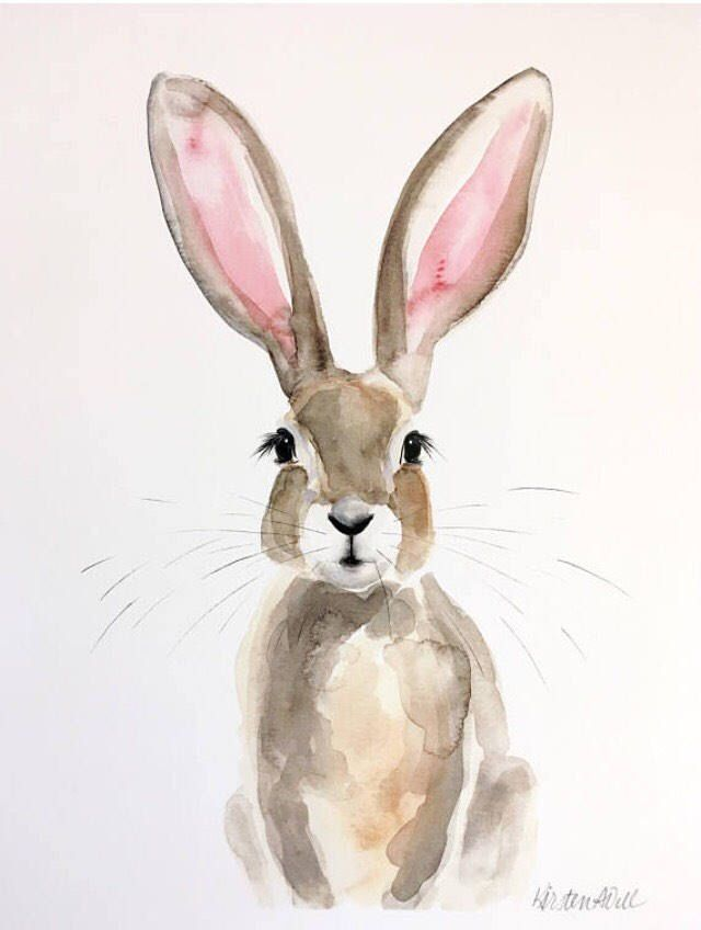 Honey Bunny Watercolor Print Lapin Art Impression A L Aquarelle