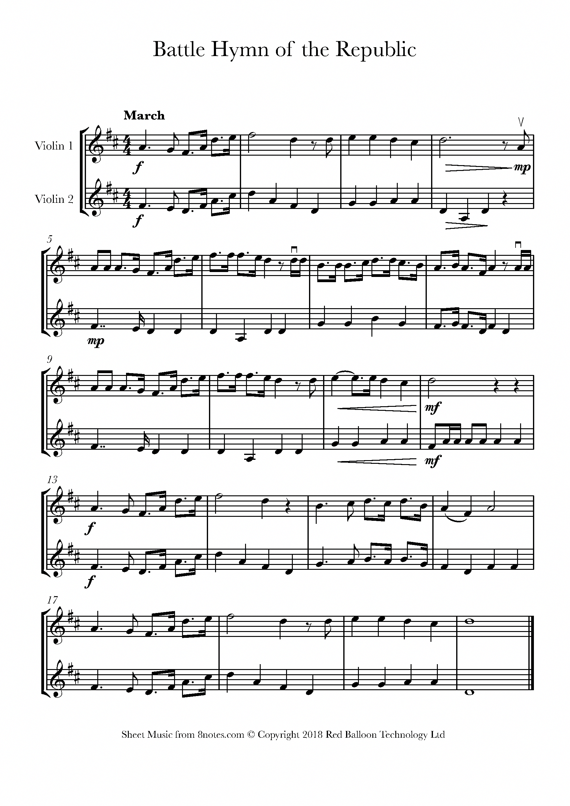 Howe The Battle Hymn of the Republic sheet music for