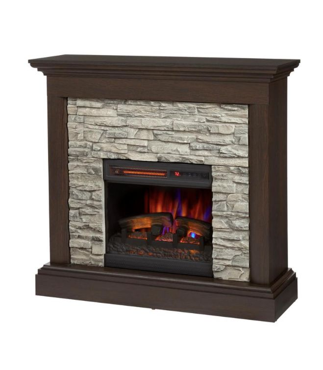 Home Decorators Collection Whittington 40 In Freestanding Electric Fireplace In Brushed Dark Pine With Gray Faux Stone 140060 The Home Depot Electric Fireplace Home Decorators Collection Faux Stone