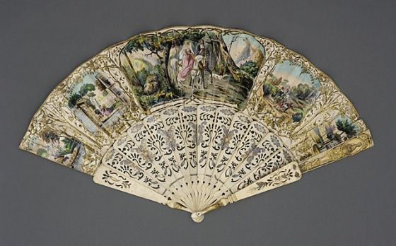 Folding Fan France or Spain, 1845-1850 Costumes; Accessories Paper leaf, bone sticks, mother-of-pearl button, brass metallic rivet Length: 10 3/4 in. (27.30 cm); Spread: 19 3/8 in. (49.21 cm) Mrs. Alice F. Schott Bequest (M.67.8.115) Los Angeles County Museum of Art