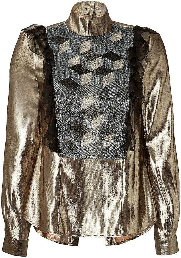 Preen by Thornton Bregazzi Silk Blend Lamé Beaded Blouse on shopstyle.com
