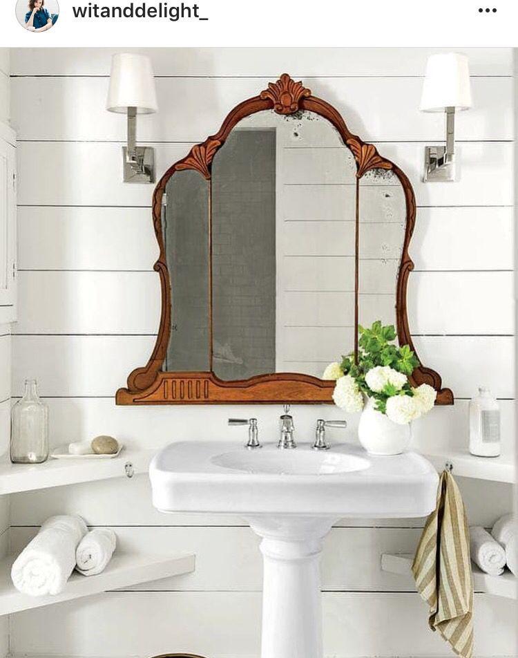 Antique Mirror In A Farmhouse Style Bathroom Vintage Bathroom Decor Modern Vintage Bathroom Bathroom Design Decor