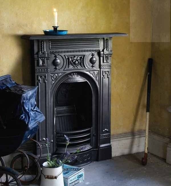 Small Victorian cast iron fireplace suite